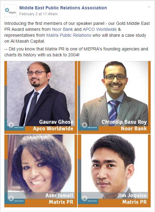Matrix Public Relations Dubai Managers to present at MEPRA